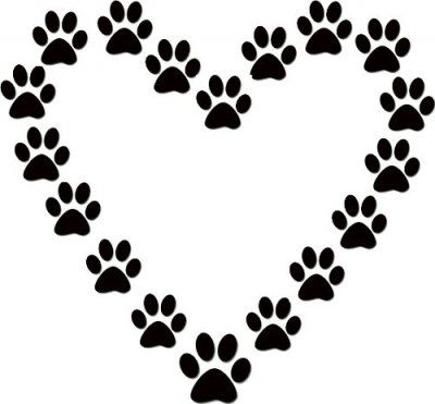 Paw prints heart template.