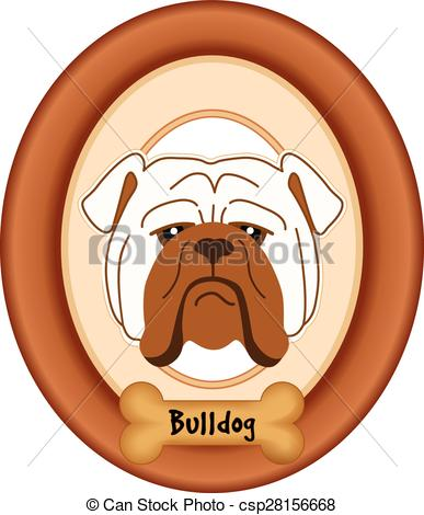 Clip Art Vector of Bulldog Dog Portrait, Frame, Bone.
