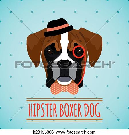 Clip Art of Hipster dog portrait k23155806.