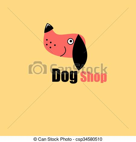 Vector Clip Art of One dog portrait.