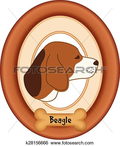 Clip Art of Beagle Dog Portrait, Frame, Bone k28156666.