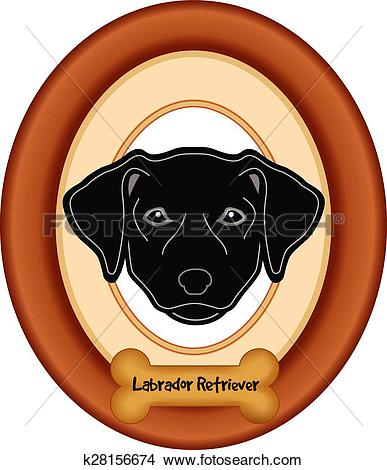 Clipart of Black Labrador Dog Portrait Frame k28156674.