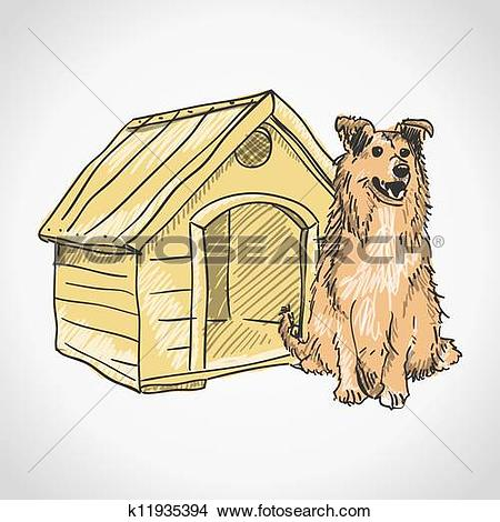 Clipart of Guard Dog Portrait k11935394.