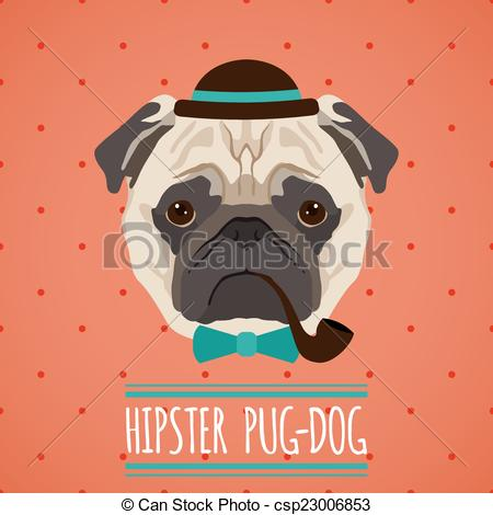 Clipart Vector of Hipster dog portrait.
