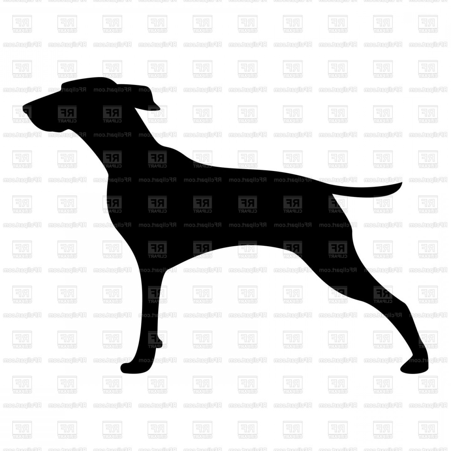 Silhouette Of Hunter Dog Profile Of Hunting Dog Vector.