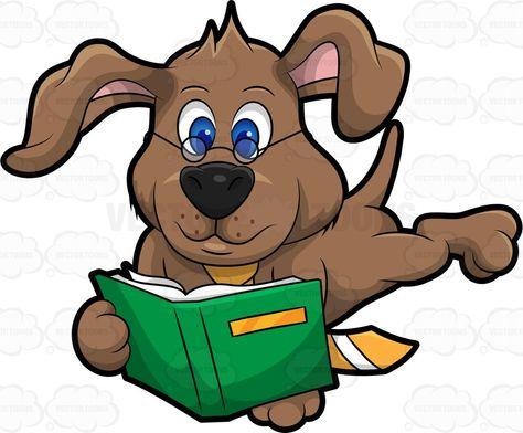 Dexter the dog reading a book #cartoon #clipart #vector.