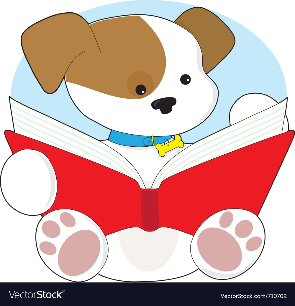 Cute puppy reading.
