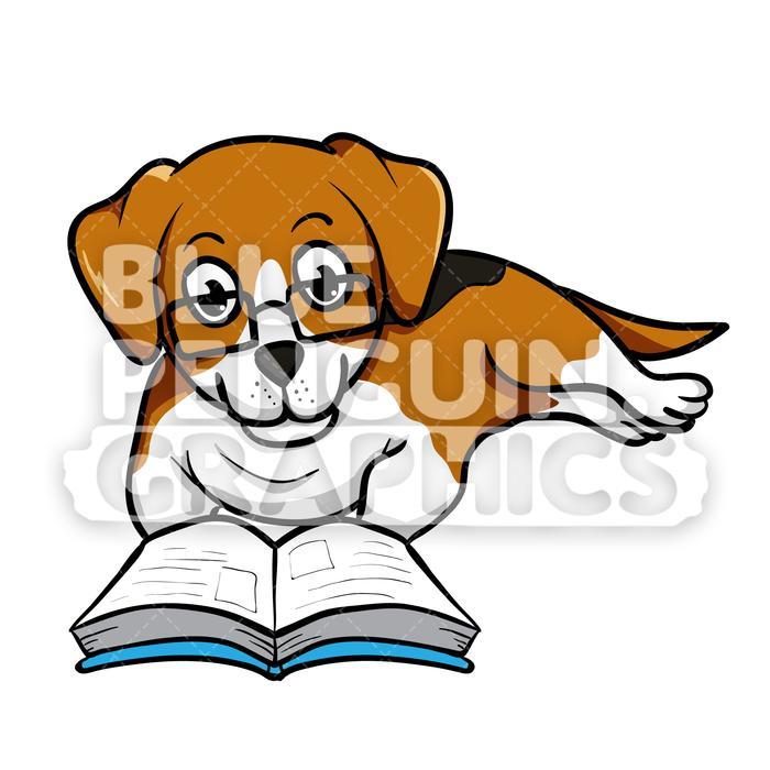Beagle Reading a Book Vector Cartoon Clipart.