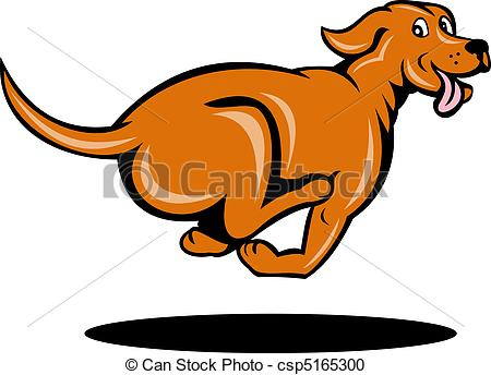 Stock Illustration of dog running viewed from side.