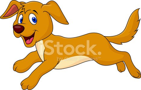Cute dog running Clipart Image.