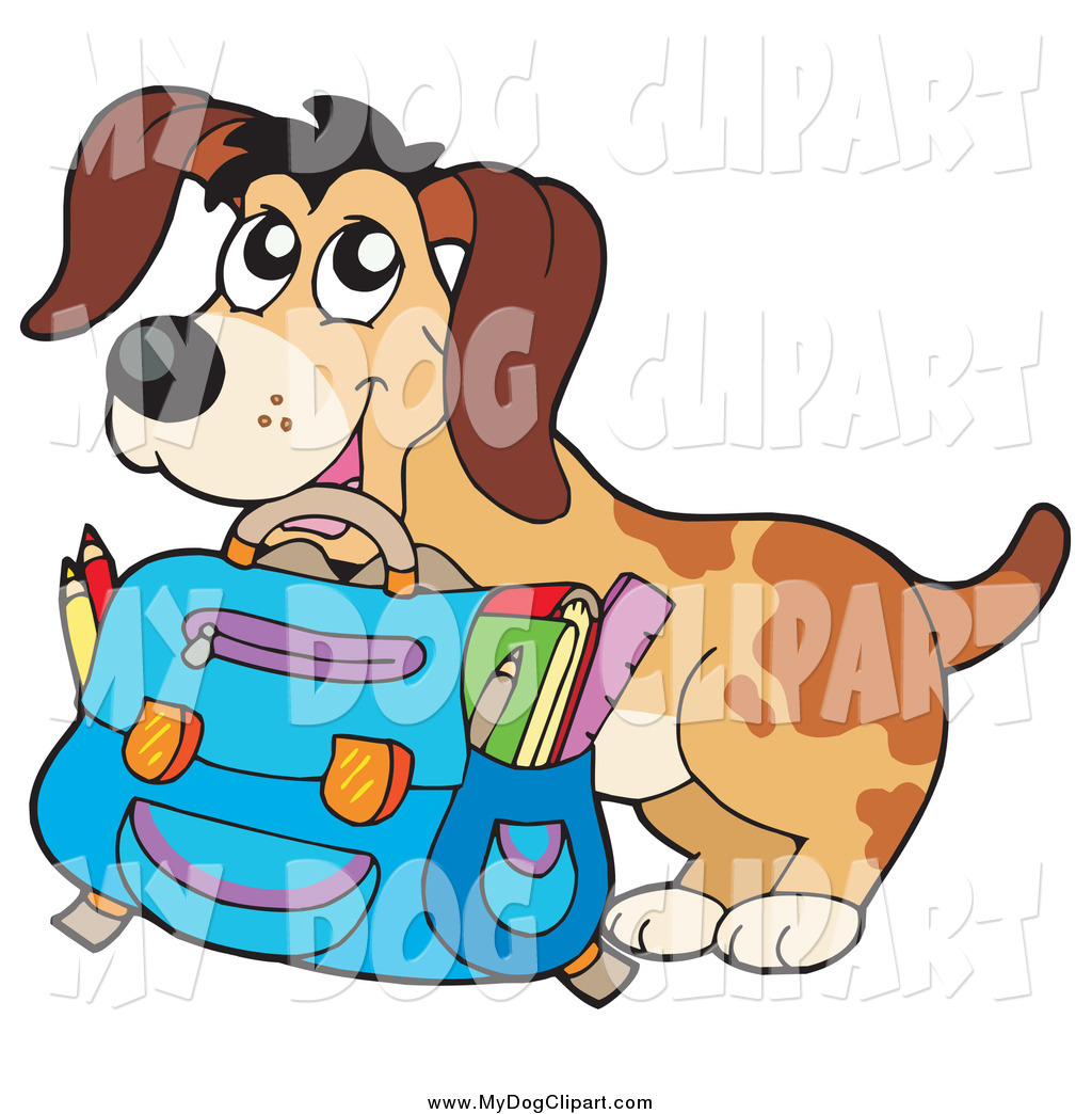 Clip Art of a Happy Dog Student with a Backpack and School.