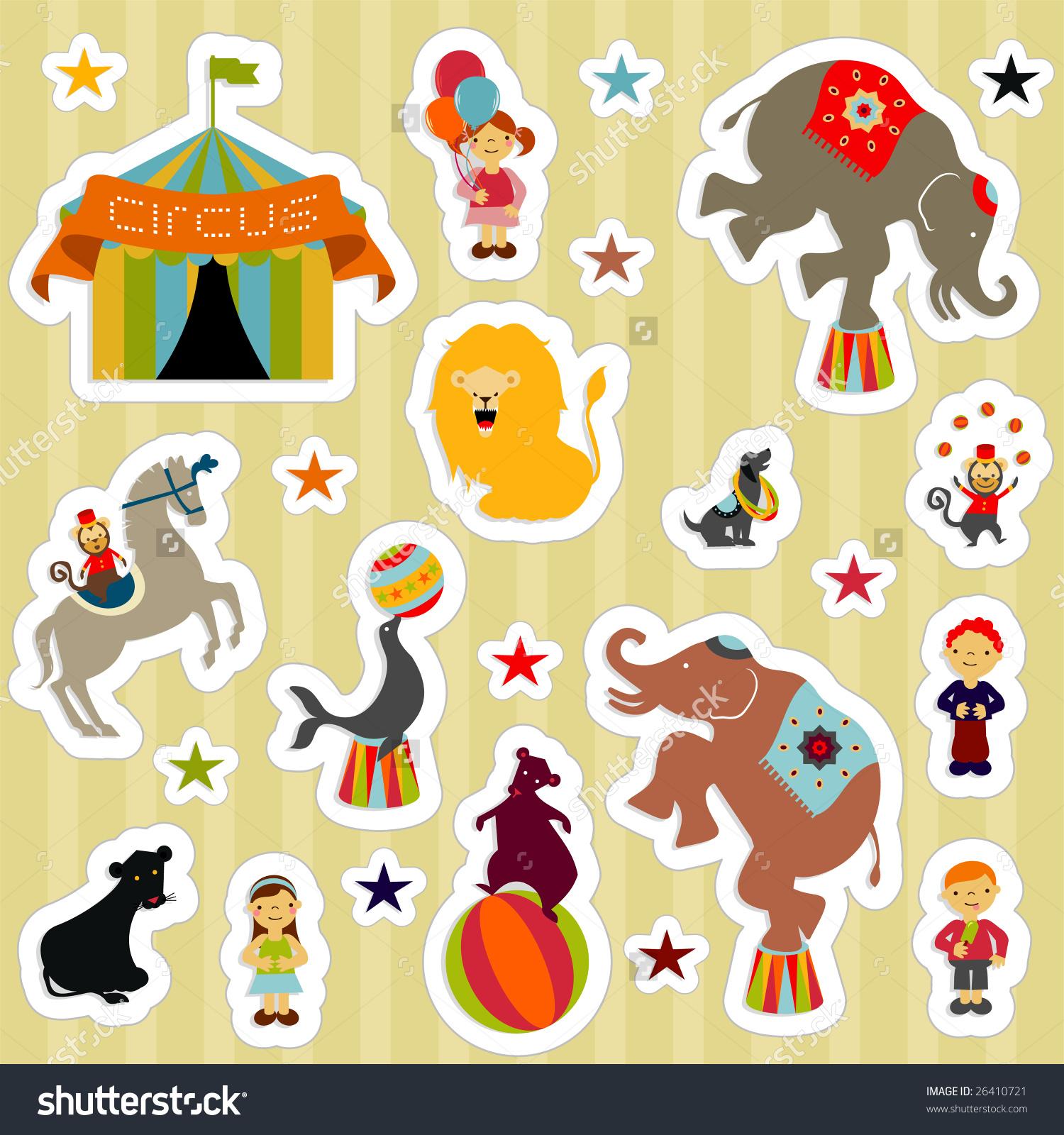 Circus Elements Like Elephants, Horse, Lion, Seal, Dog, Bear.