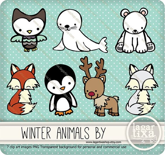Cute Animals Clipart Pig Mouse Tiger Dog Rabbit Fox Lion Whale.