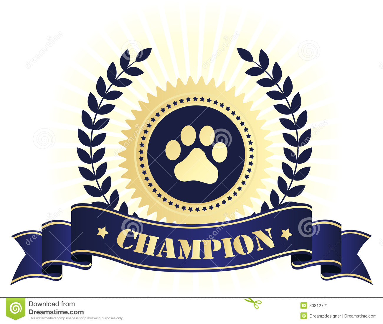 Champion Seal With Dog Paw Print Stock Image.