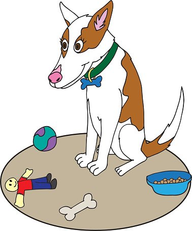 Cattle Dog Sitting Down Cartoon Clipart Image.
