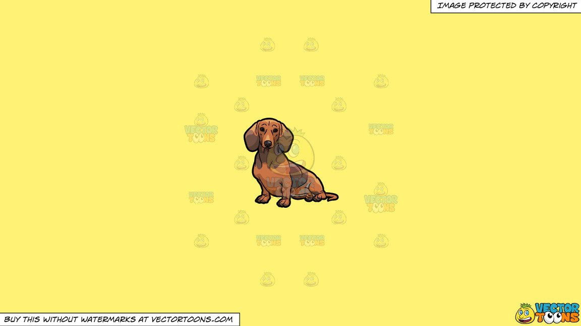 Clipart: An Adorable Dachshund Dog Sitting Down on a Solid Sunny Yellow  Fff275 Background.