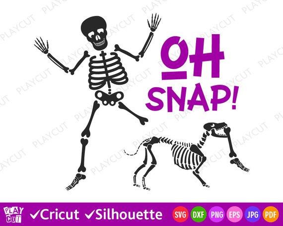 Skeleton Clip art Svg Skeleton Dog Svg Oh Snap! Halloween.