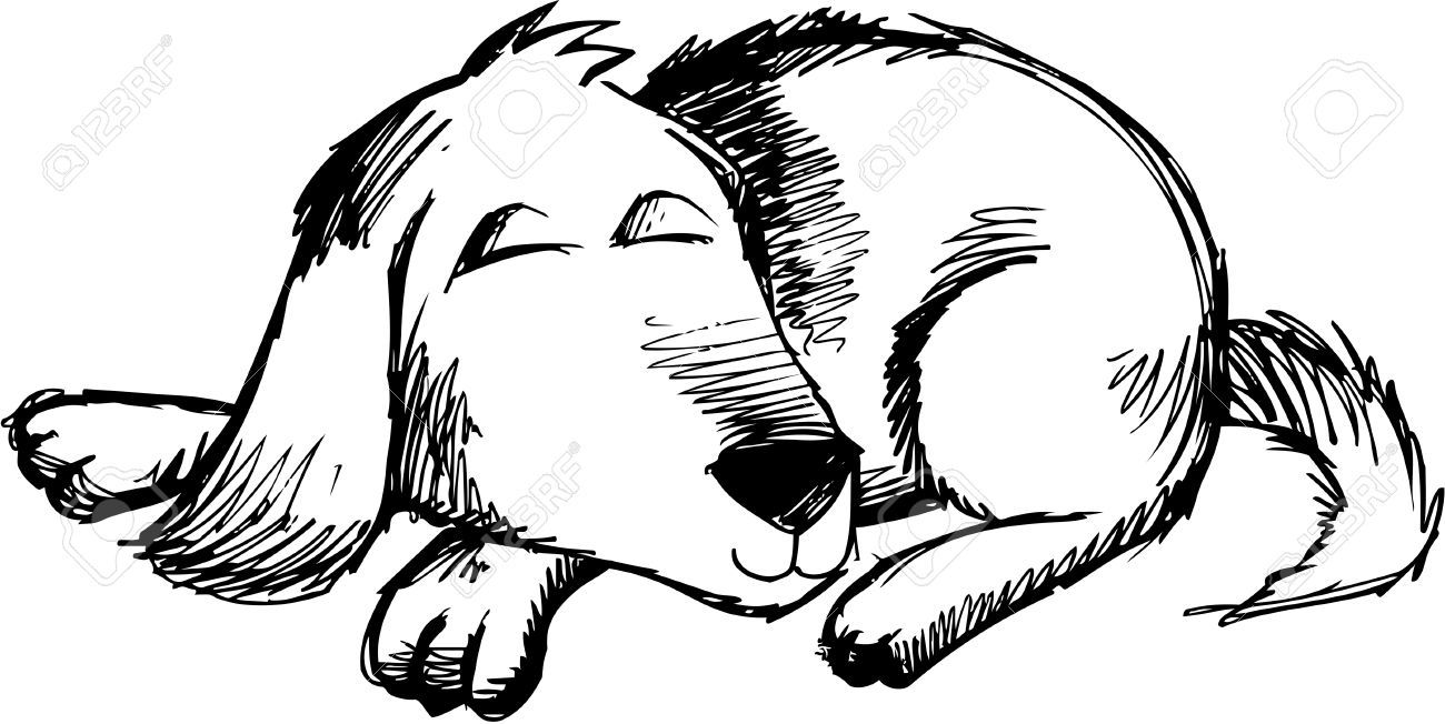 Sleeping dog clipart black and white.