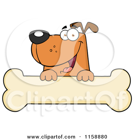Cartoon of a Happy Brown Dog Smiling over a Bone Sign.