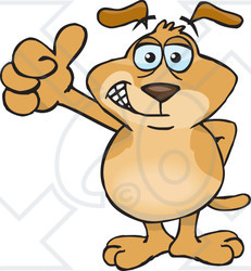 Clipart Illustration of a Hip Brown Dog Smiling And Giving The.