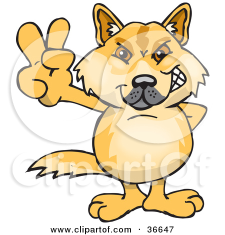 Clipart Illustration of a Peaceful Dingo Dog Smiling And Gesturing.