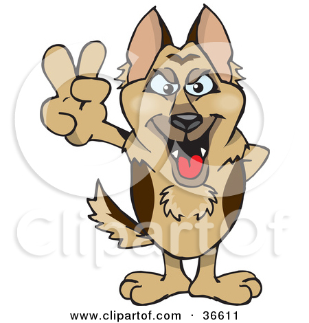 Clipart Illustration of a Peaceful German Shepherd Dog Smiling And.
