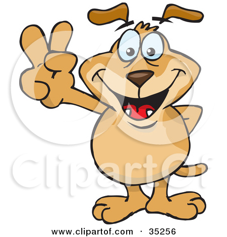 Clipart Illustration of a Peaceful Brown Dog Smiling And Gesturing.