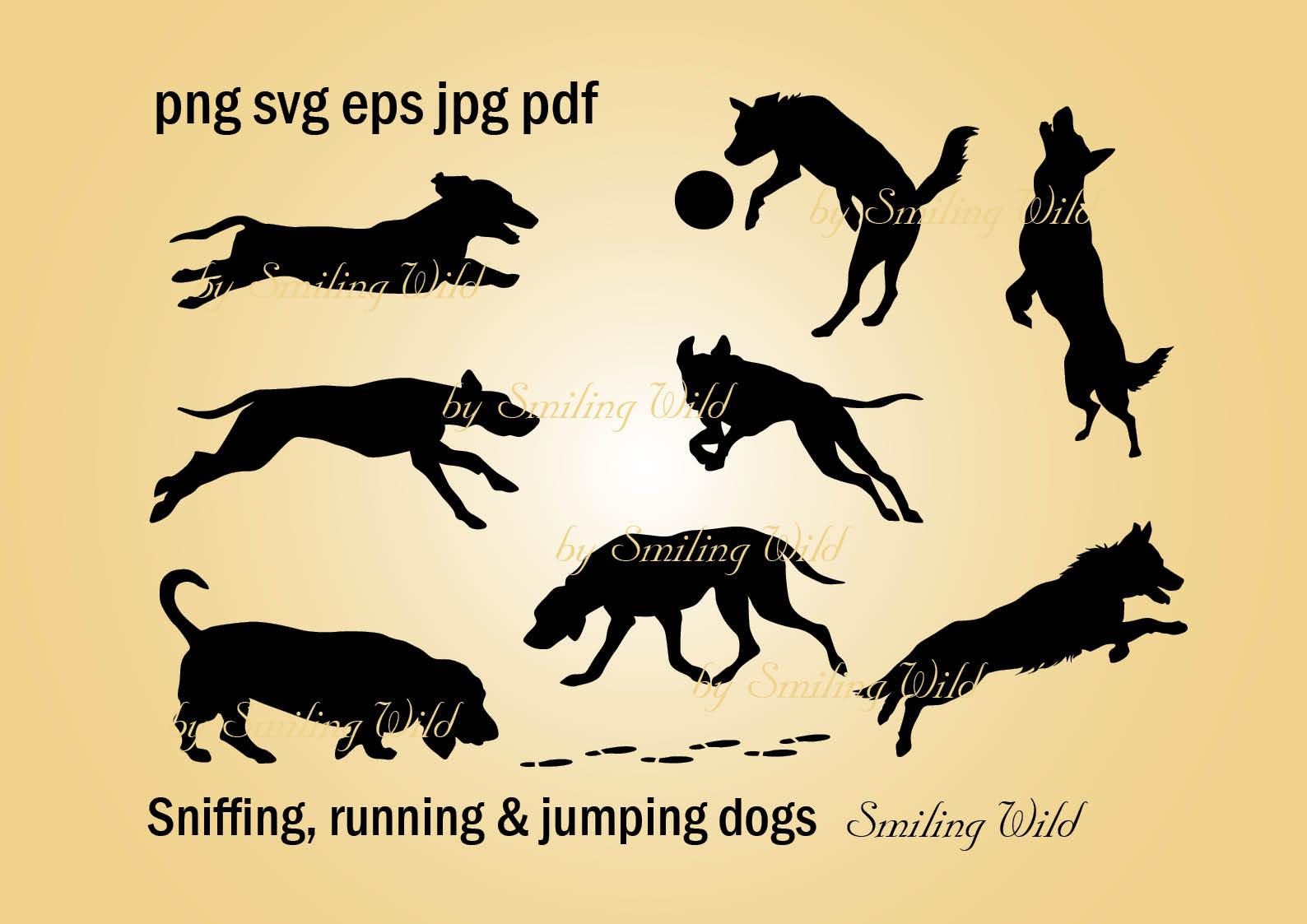 sniffing dog bloodhound svg silhouette running dog clipart art jumping dog  vector graphic printable running shepherd dachshund.
