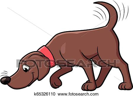 Dog sniffing the ground Clipart.