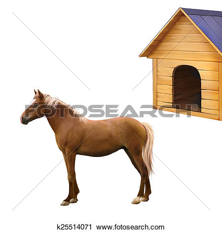 Clipart of Mixed breed horse standing, old wooden dog house.