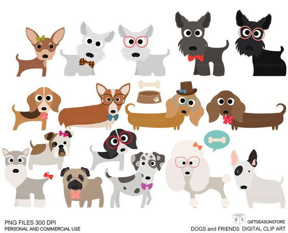 Dogs and Friends clip art part 1 for Personal and Commercial use.
