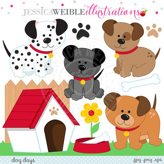Dog Days Cute Digital Clipart for Invitations, Card Design.