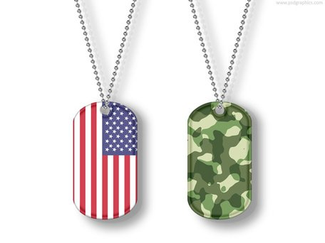 Free USA and camouflage dog tags (PSD) Clipart and Vector Graphics.