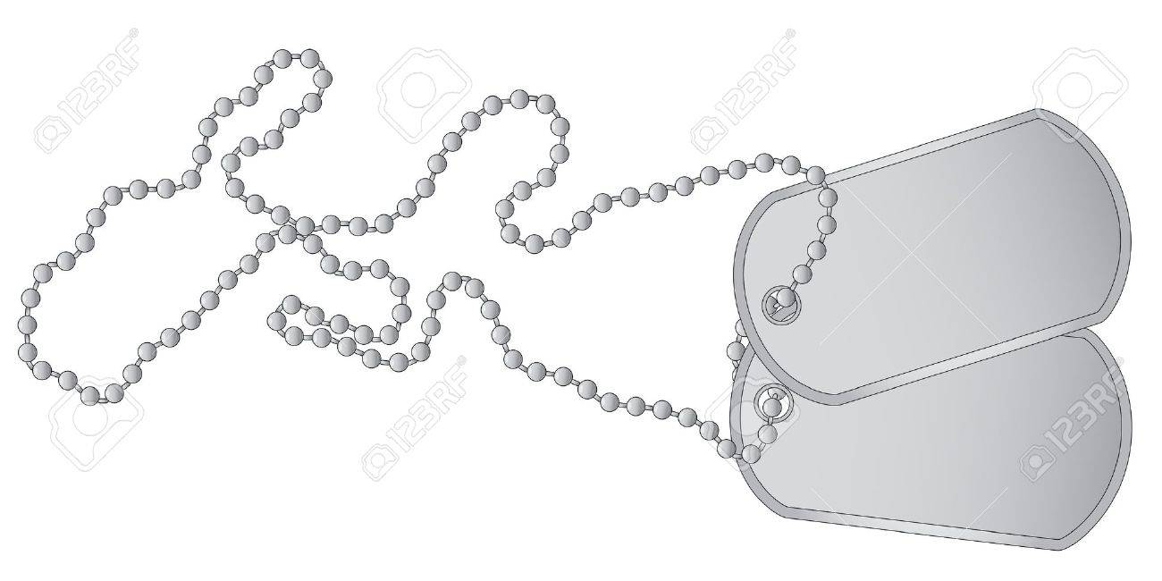 A set of military dog tags with chain.