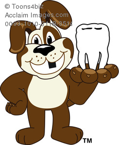 Clipart Cartoon Puppy Holding a Missing Tooth.