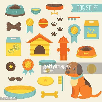 Dog Stuff Collection,dog Toys, Dog Food, Doghouse premium clipart.