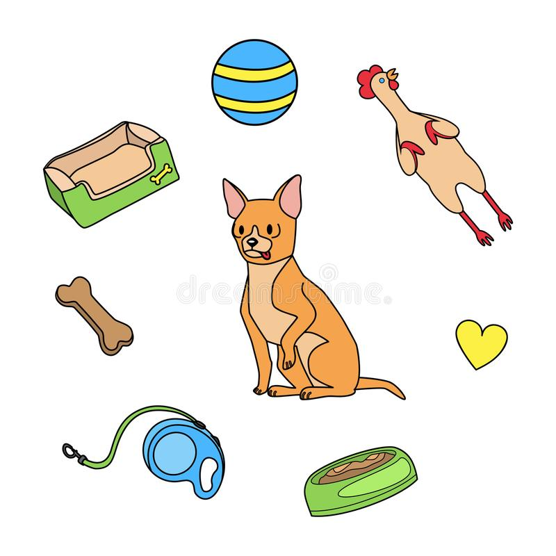 Dog Toys Stock Illustrations.