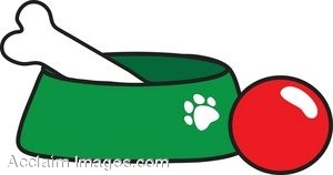 Dog Bowl and Pet Toys clipart.