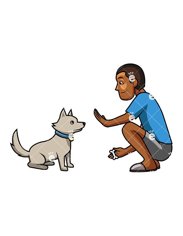 A Kind Black Man Trying To Teach His Cute Dog To Sit.