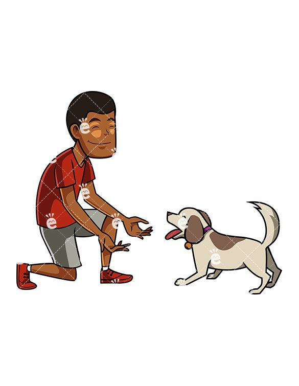 A Black Man And His Dog Excitedly Interacting.