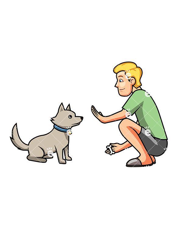 A Man Teaching His Cute Dog To Sit.