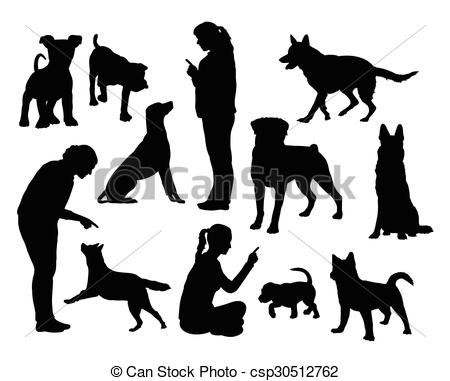 Clip Art Vector of Dog training silhouettes.
