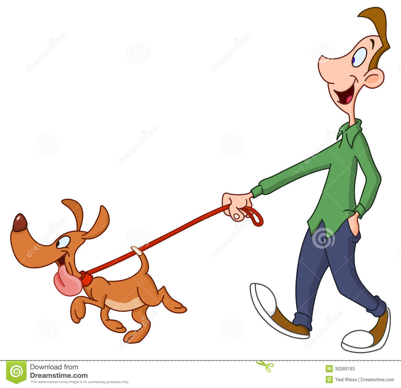 Man Walking Dog Stock Photos.