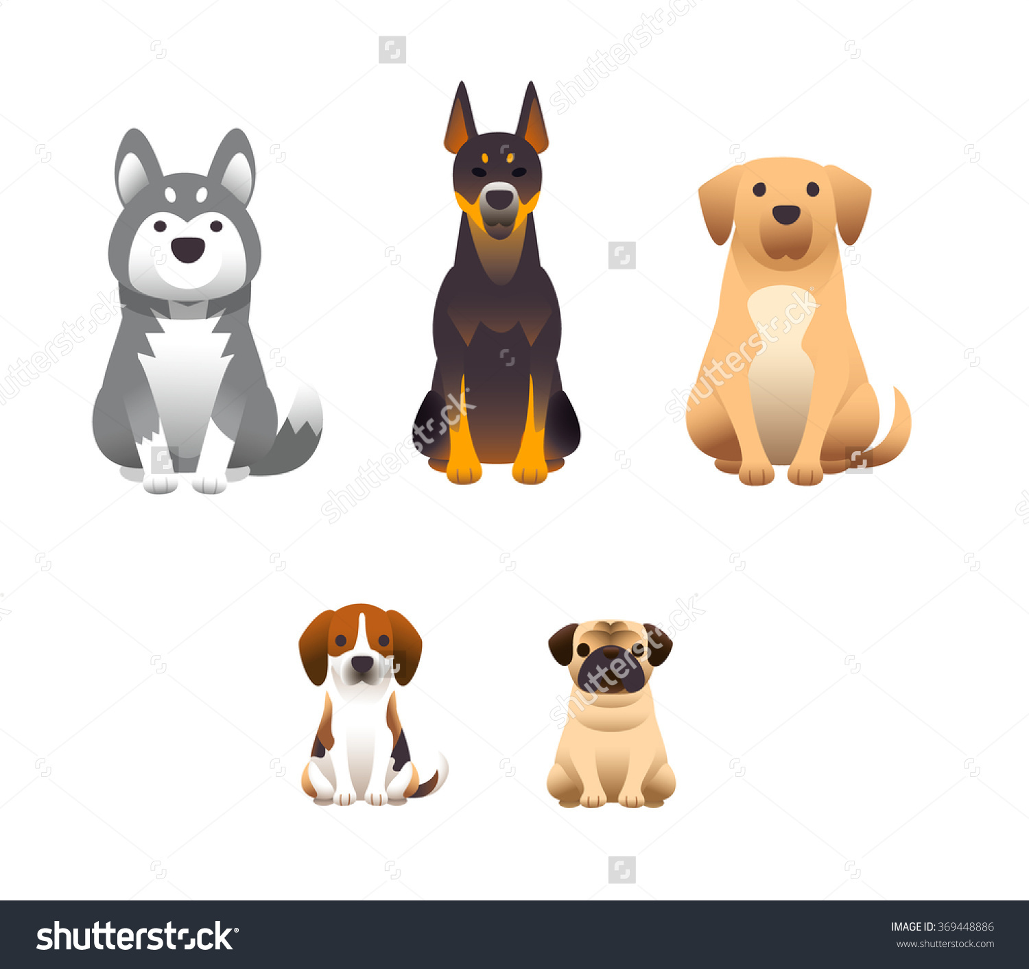 Vector Set Dogs Isolated On White Stock Vector 369448886.
