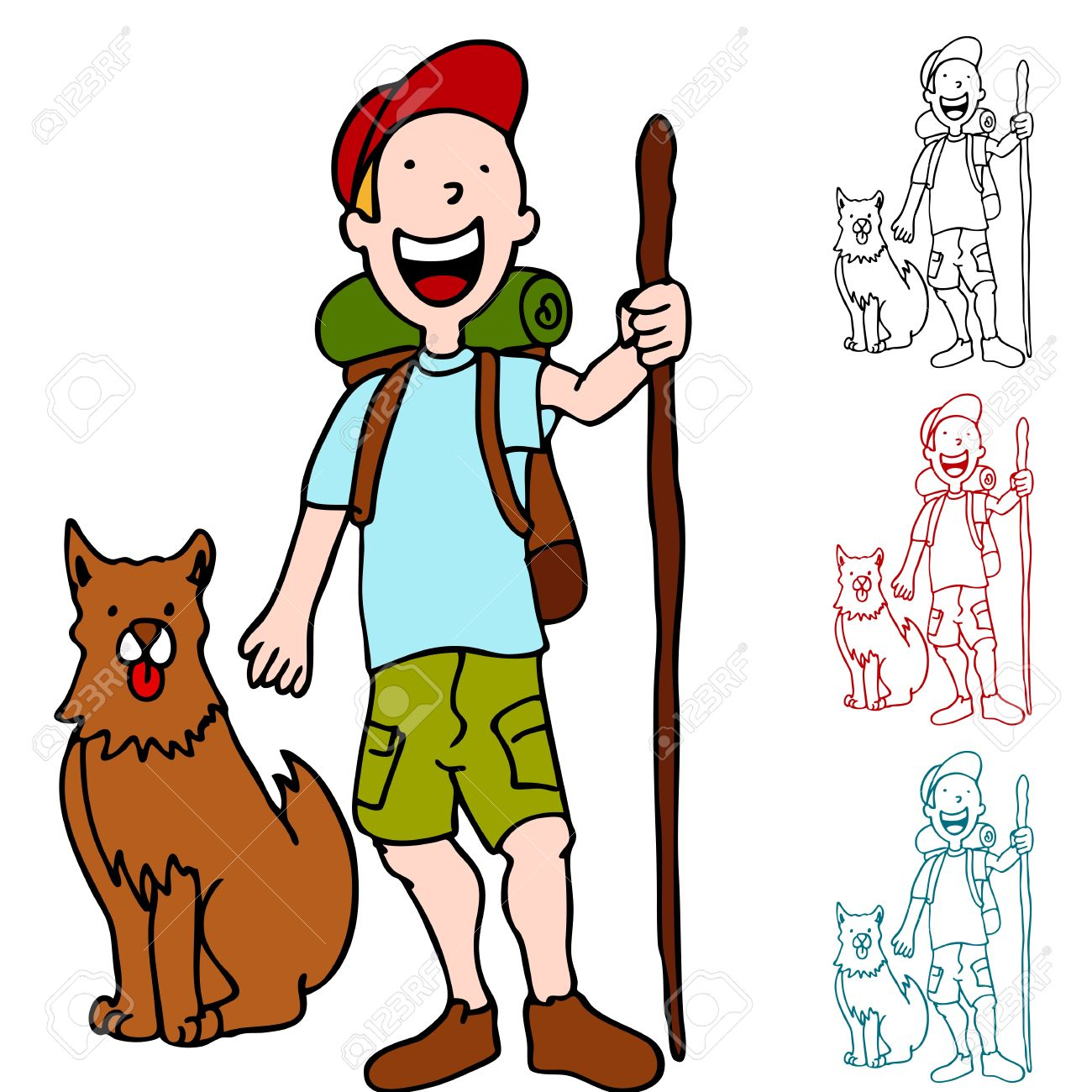 An Image Of A Man Hiking With His Dog. Royalty Free Cliparts.