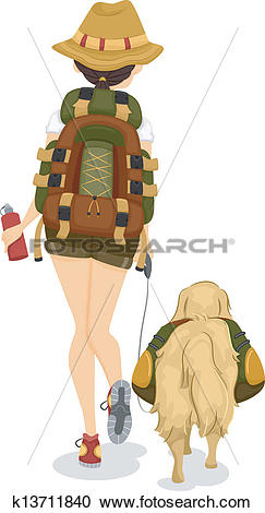 Clipart of Girl and Dog Trekking or Hiking k13711840.