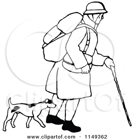 Clipart of a Retro Vintage Black and White Man Trekking with a Dog.
