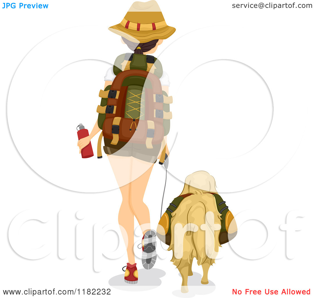 Cartoon of a Rear View of a Hiking Woman and Dog.