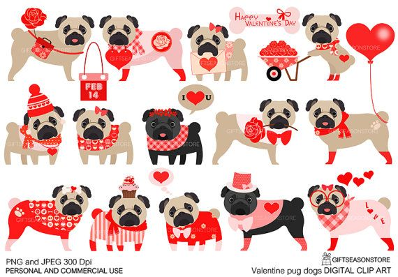 Valentine pug dogs Digital clip art for Personal and.