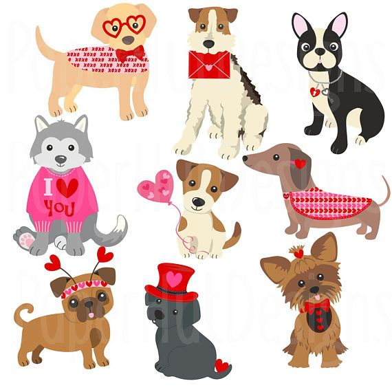 Valentine Dogs Clipart 2.